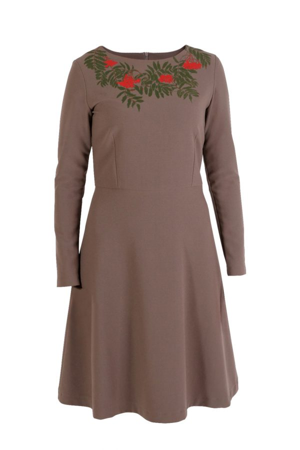 Aukštos kokybės itališko audinio suknelė šermukšnis