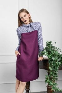 Rudeninė natūralaus audinio suknelė
