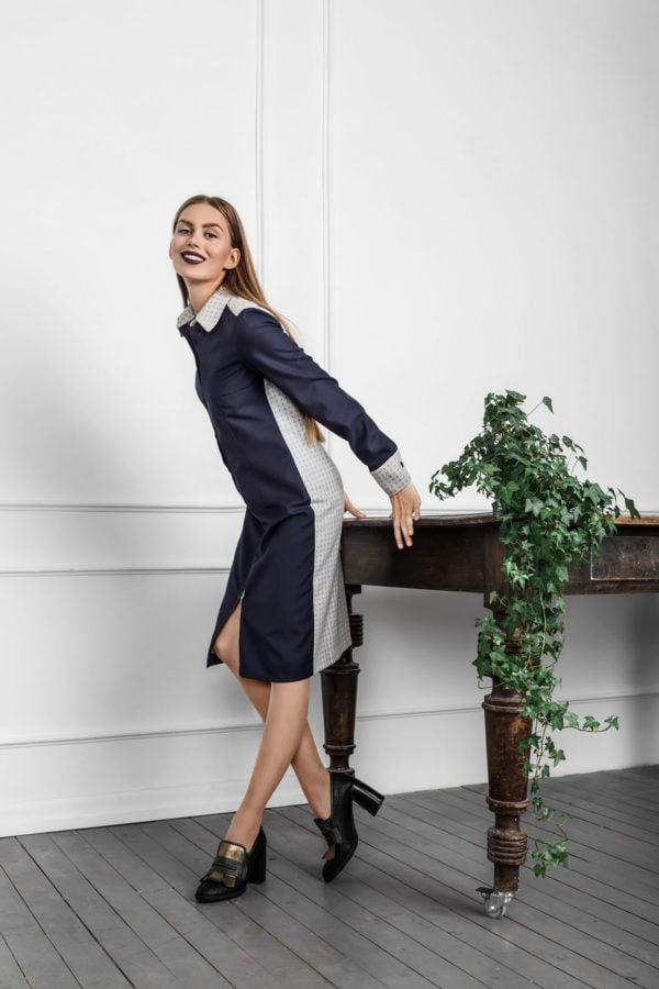 Klasikinė suknelė marškiniai yra tobula biure dirbančios moters įvaizdžio dalis