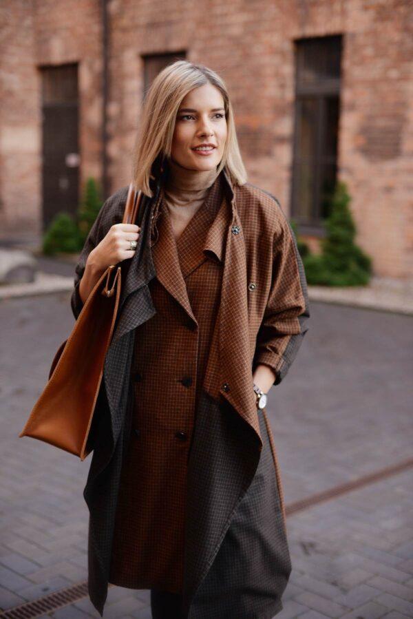 Rudas rudeninis paltas moterims One size - Tauri Look