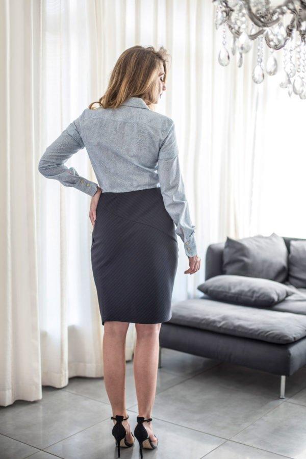 """Marškiniai """"My own blouse 5"""" - žydri klasikiniai moteriški marškiniai"""