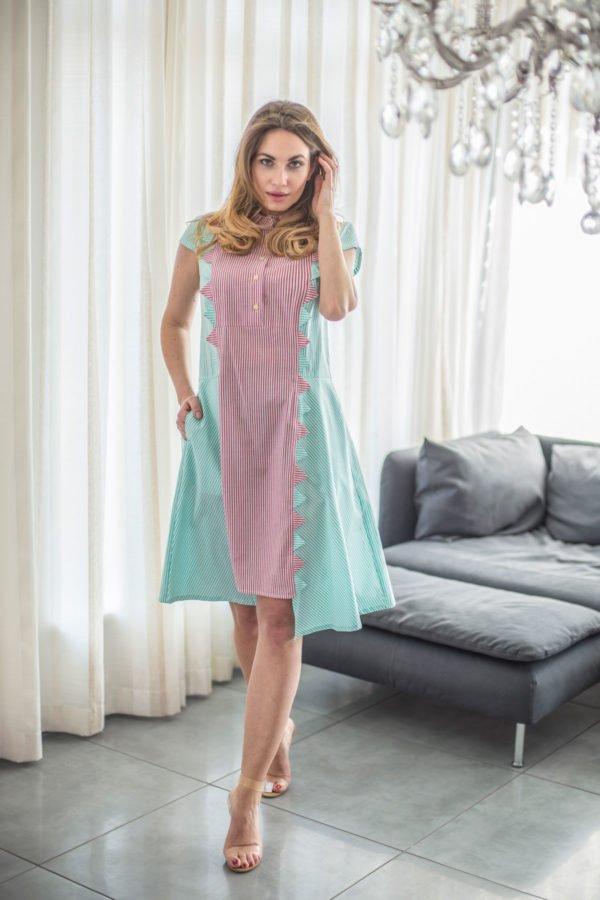 """Medvilninė suknelė """"My own dress 16"""" - žalsva ir rausva dryžuota suknelė imternetu"""