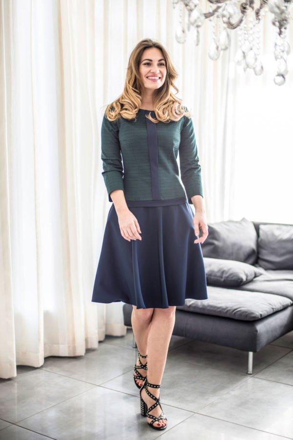 "Suknelė ""My own dress 14"" žalia su mėlynu sijonu"