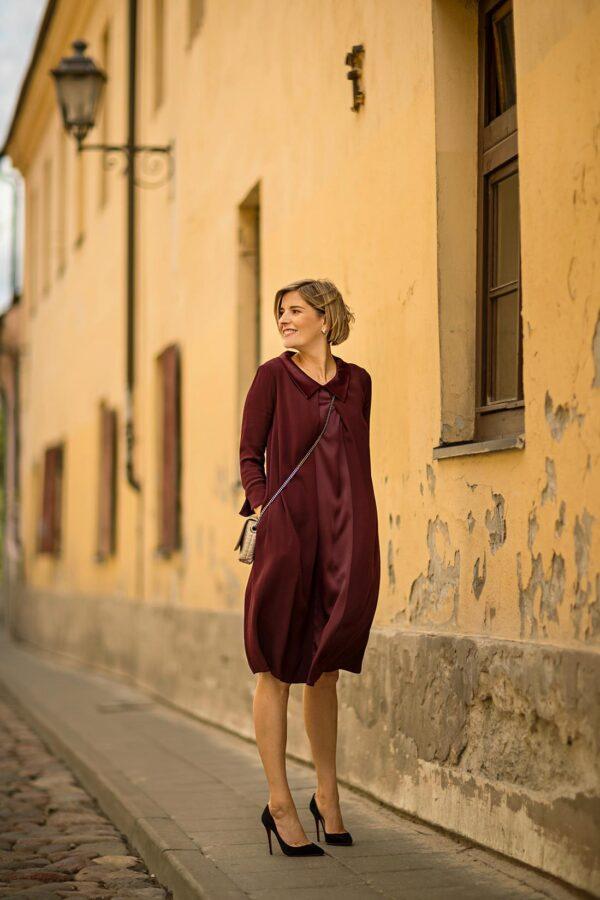 Puošnios suknelės progoms - Rudeninė burgundiška spalva suknelė - Tauri Look