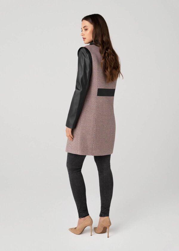 Rožinis moteriškas paltas rudeniui - Tauri Look