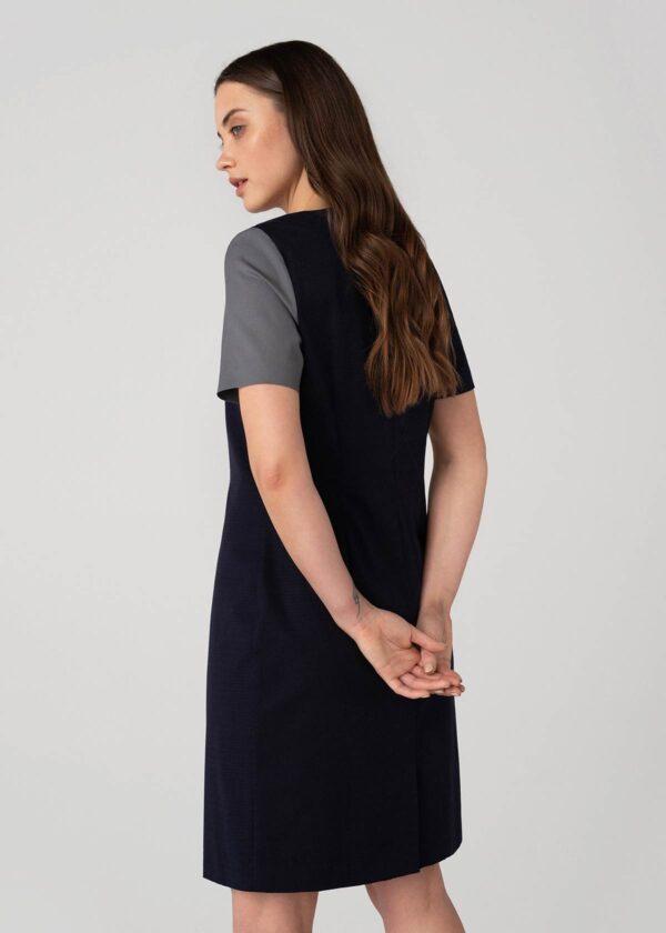 Tiesaus kirpimo tamsi trumpomis rankovėmis suknelė - Tauri Look