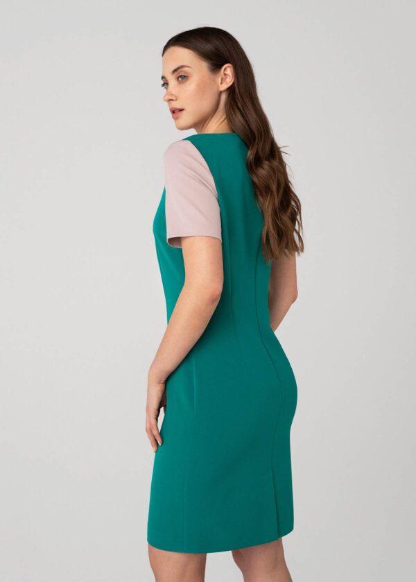 Žalia suknelė trumpomis rankovėmis - Tauri Look