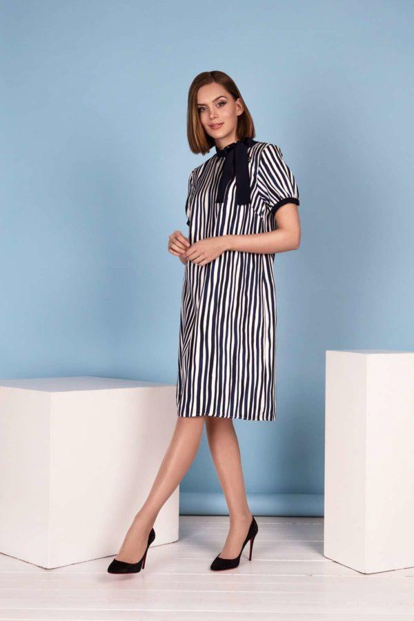 "Dryžuota šilko suknelė ""My own dress 22"" trumpomis rankovėmis"