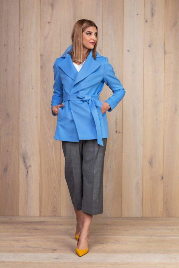 Šviesiai mėlynas švarkas surišamas su diržu - My own jacket 9