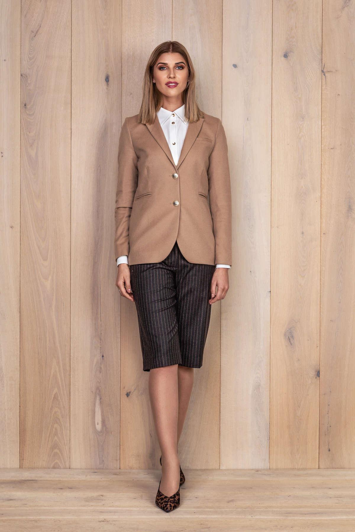 Camel spalvos moteriškas švarkas - My own jacket 10 - Tauri Look