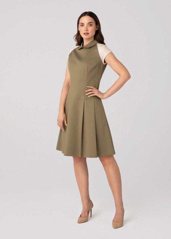 Chaki spalvos suknelės trumpomis rankovėmis - Tauri Look
