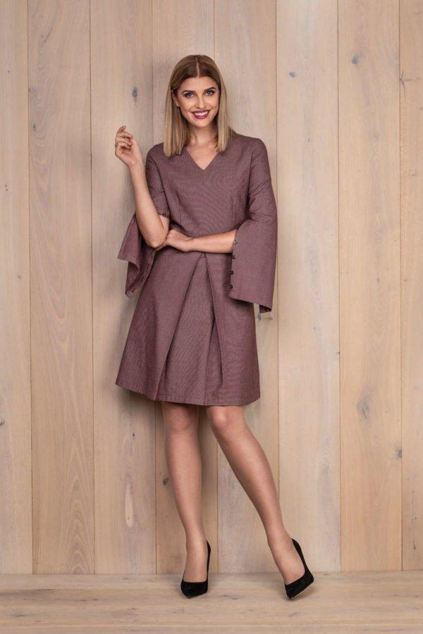 Raudona medvilninė suknelė su atsegamomis rankovėmis - My own dress 27