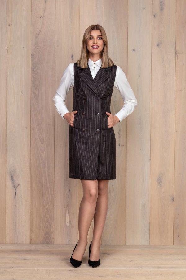 Vilnonis švarko tipo sarafanas su baltais marškiniais - My own dress 26