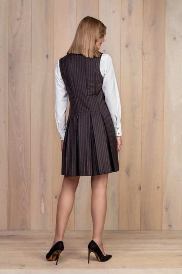 Vilnonis švarko tipo sarafanas su rudais dryžiais - My own dress 26