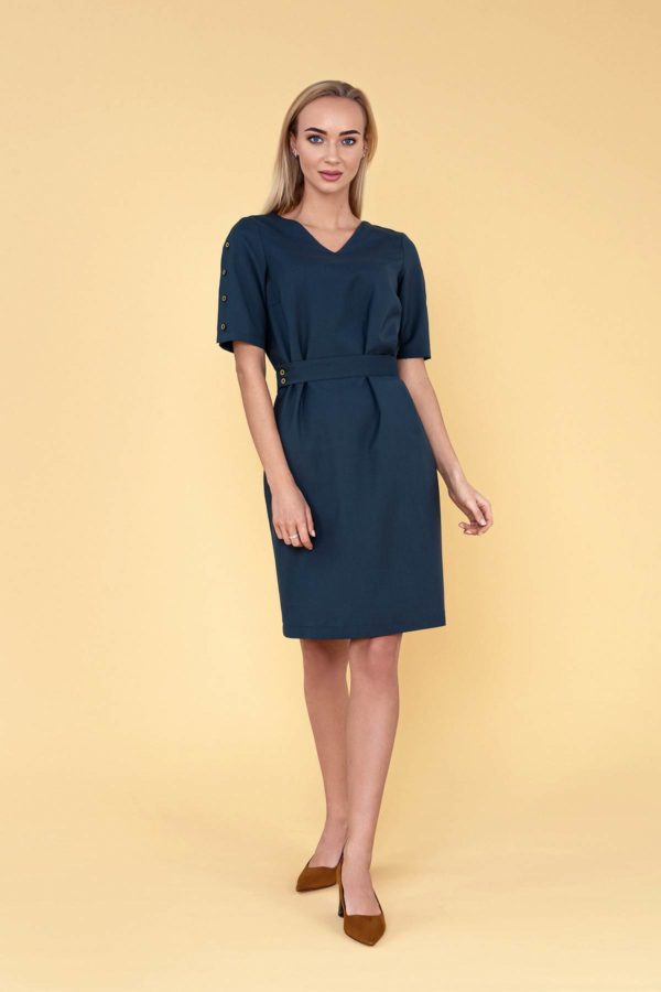 """Žalia Dalykinė suknelė vasarai """"My own dress 32"""" - išskirtinė klasika"""