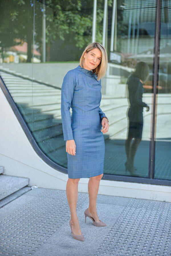 Elegantiška languota suknelė mėlynos spalvos - Tauri Look