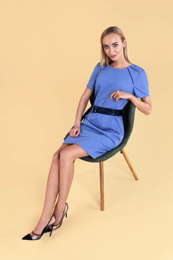 """Lengva mėlyna vasarinė suknelė """"My own dress 30"""" trumpomis rankovėmis"""
