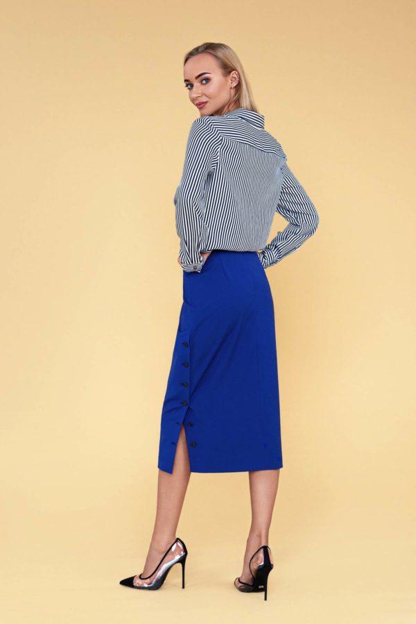 """Natūralaus šilko marškiniai """"My own blouse 17"""" su mėlynu ilgu sijonu"""