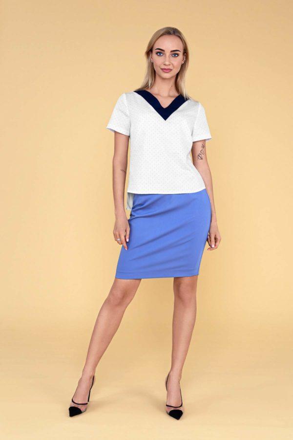 """Palaidinė su V formos apykakle """"My own blouse 14"""" - balta su mėlynais taškeliais palaidinė"""