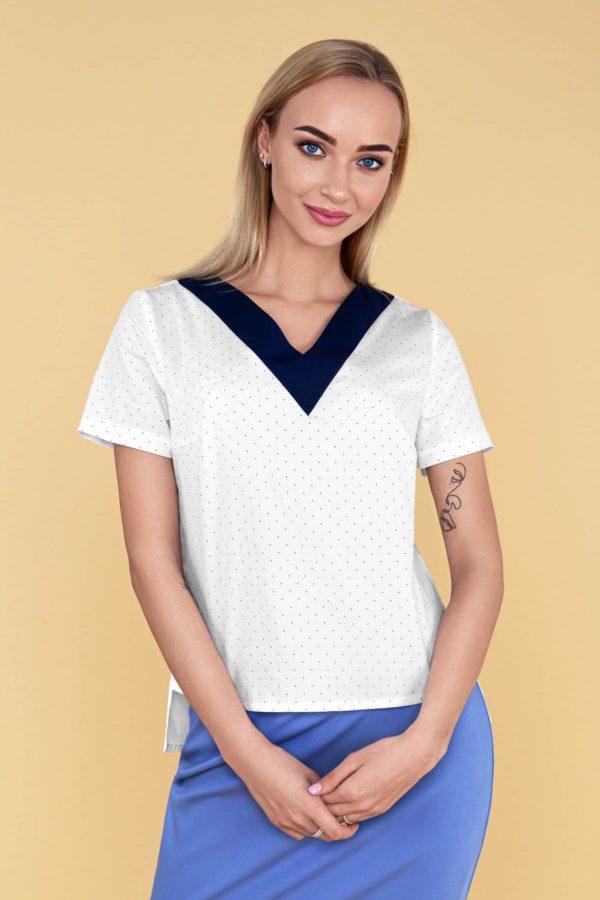 """Palaidinė su V formos mėlyna apykakle """"My own blouse 14"""" trumpomis rankovėmis"""