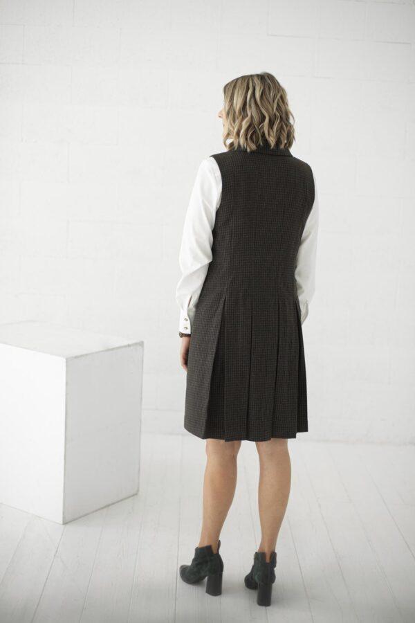 Itališkos vilnos suknelė sarafanas liemenė tamsios spalvos
