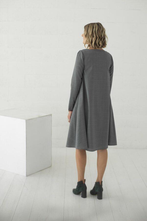 Pilka vilnonė suknelė laisvai krentanti - Tauri Look