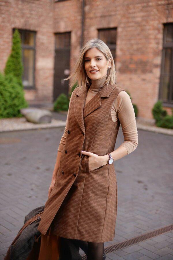 Rudas sarafanas - suknelė be rankovių - Tauri Look