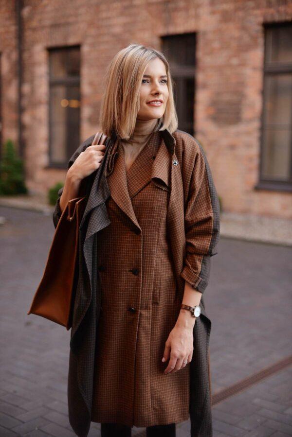 Rudas sarafanas suknelė su rudeniniu paltuku - Tauri Look