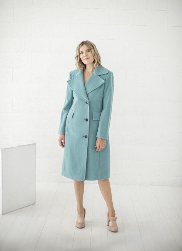 Turkio spalvos klasikinis paltas žiemai - Tauri look