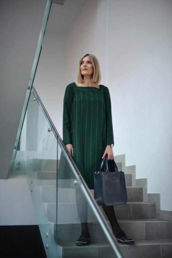 Žalios suknelės ilgomis rankovėmis internetu - Tauri Look