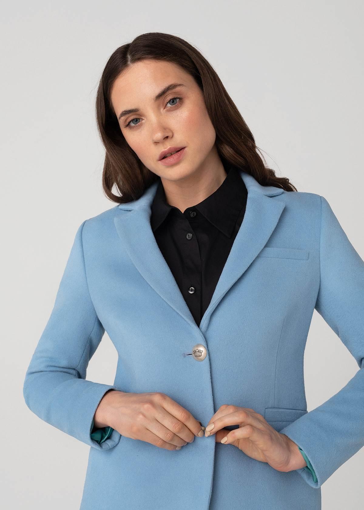 Šviesiai mėlynas Moteriškas švarkas iš kašmyro - Tauri Look