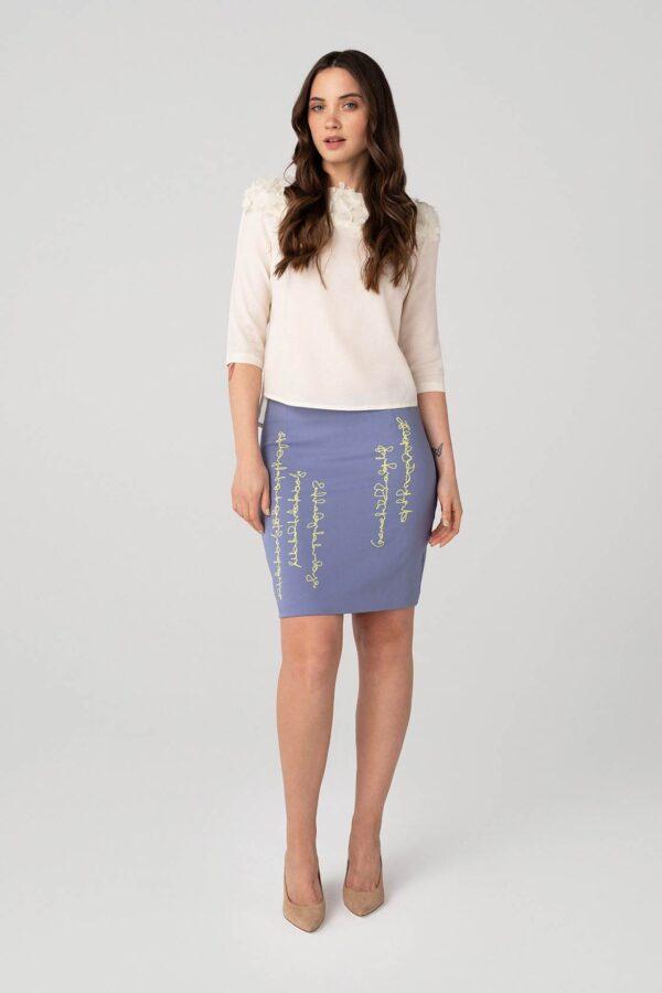 Šviesus tiesaus kirpimo sijonas - Tauri Look