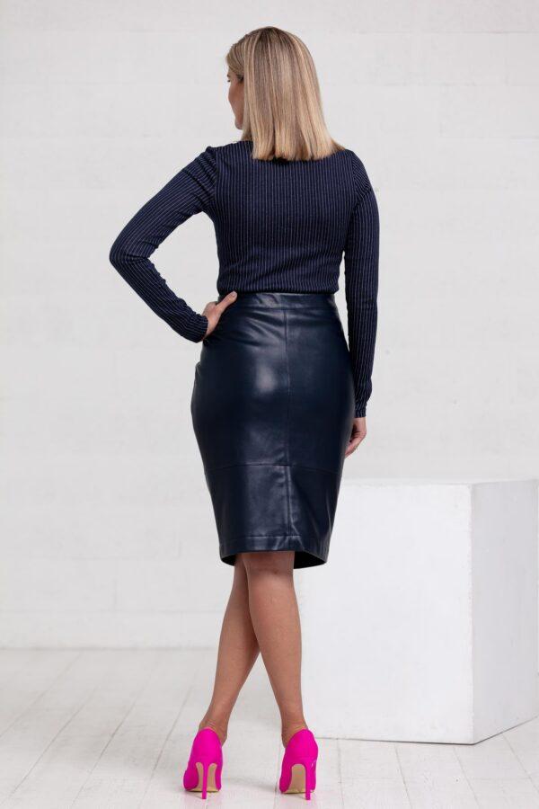 Tamsus dirbtinės odos sijonas - Tauri Look